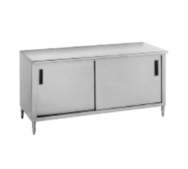 "Advance Tabco CB-SS-309M 108"" x 30"" Work Table with Cabinet Base, Sliding Doors and Midshelf"