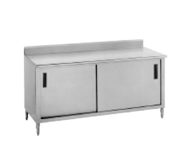 "Advance Tabco CF-SS-368M 96"" x 36"" Work Table with Cabinet Base, Sliding Doors and Backsplash With Midshelf"