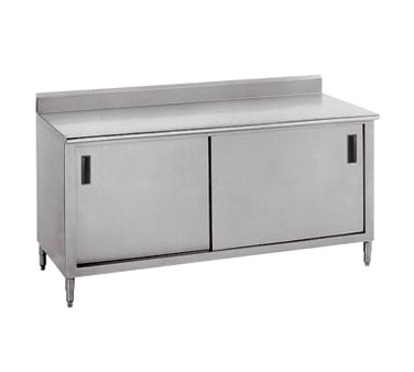 "Advance Tabco CK-SS-304M 48"" x 30"" Work Table with Cabinet Base, Sliding Doors, 5"" Backsplash and Midshelf"