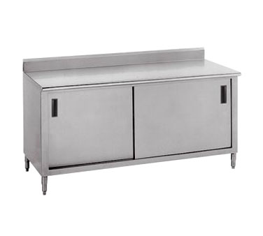 "Advance Tabco CK-SS-3612M 144"" x 36"" Work Table With Cabinet Base and Sliding Doors, 5"" Backsplash and Midshelf"