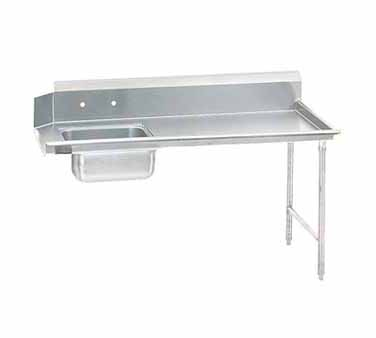 """Advance Tabco DTS-S30-144R 44"""" x 143"""" x 30"""" Straight Soil Dishtable With 10-1/2"""" Right-To-Left Backsplash, Pre-Rinse Sink, Crossrails"""