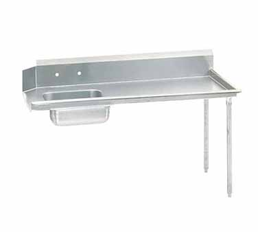 """Advance Tabco DTS-S60-144R 44"""" x 143"""" x 30"""" Straight Soil Dishtable With 10-1/2"""" Right-To-Left Backsplash And Pre-Rinse Sink"""