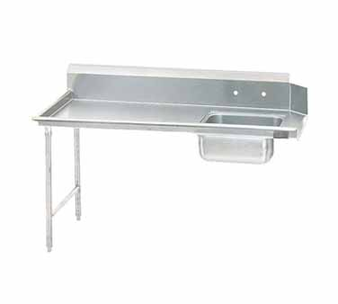 """Advance Tabco DTS-S70-144L 44"""" x 143"""" x 30"""" Straight Soil Dishtable With 10-1/2"""" Left-To-Right Backsplash, Pre-Rinse Sink, Crossrails"""