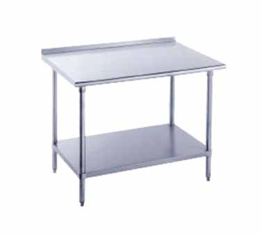 "Advance Tabco FMG-305 Stainless Steel Work Table with 1-1/2"" Backsplash and Undershelf"