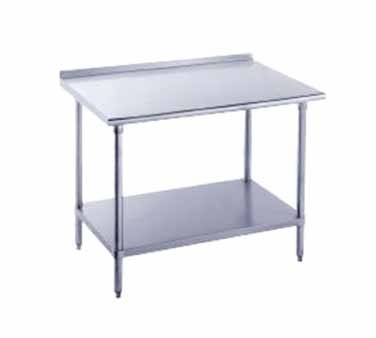 """Advance Tabco FMG-305 Stainless Steel Work Table with 1-1/2"""" Backsplash and Undershelf"""
