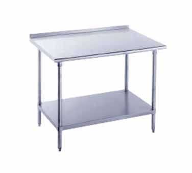 "Advance Tabco FMS-305 Stainless Steel Work Table with 1-1/2"" Backsplash and Undershelf"