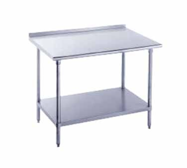 """Advance Tabco FMS-305 Stainless Steel Work Table with 1-1/2"""" Backsplash and Undershelf"""