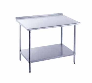 "Advance Tabco FSS-305 Stainless Steel Work Table with 1-1/2"" Backsplash and Undershelf"