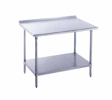 "Advance Tabco FSS-365 Stainless Steel Work Table with 1-1/2"" Backsplash and Undershelf"