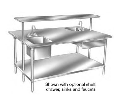 """Advance Tabco GLG-486 Stainless Steel Work Table with Undershelf 48"""" x 72"""""""