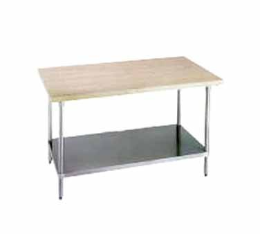 """Advance Tabco H2G-365 Wood Top Work Table with Galvanized Base and Undershelf, 36"""" 60"""""""