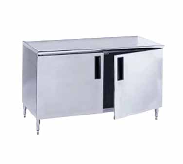 "Advance Tabco HB-SS-309M 108"" x 30"" Enclosed Base Work Table with Hinged Doors and Midshelf"