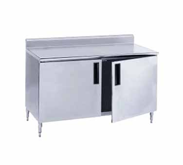 "Advance Tabco HF-SS-369M 108"" x 36"" Enclosed Base Work Table with Hinged Doors, Backsplash and Midshelf"