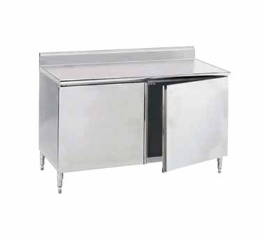 "Advance Tabco HK-SS-368M 96"" x 36"" Enclosed Base Work Table with Hinged Doors, 5"" Backsplash and Midshelf"
