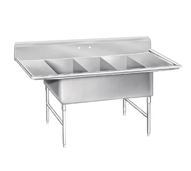 Advance Tabco K7-3-2030-24RL Three Compartment Super Size Sink With Two Drainboards, 108""