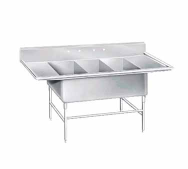 Advance Tabco K7-3-3030-24RL Three Compartment Convenience Store Sink with Two Drainboards, 138""