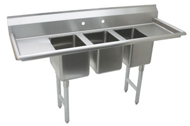 Advance Tabco K7-CS-21 Three Compartment Convenience Store Sink with Two Drainboards, 58""