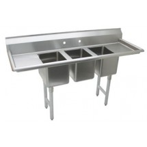 Advance Tabco K7-CS-32 Three Compartment Convenience Store Sink with Two Drainboards, 64""