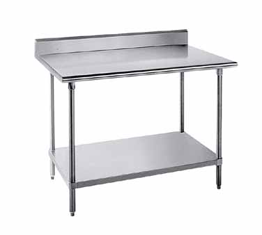"Advance Tabco KMG-365 Stainless Steel Work Table with 5"" Backsplash and Undershelf"