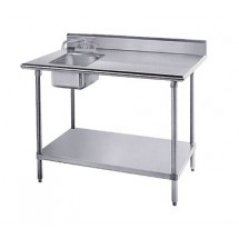 "Advance Tabco KMS-11B-306L 30"" x 72"" Work Table with Sink on Left"