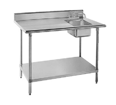 "Advance Tabco KMS-11B-306R 30"" x 70"" Work Table with Sink on Right"