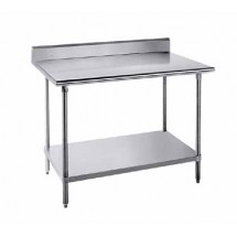 """Advance Tabco KMS-365 Stainless Steel Work Table With 5"""" Backsplash and Undershelf"""