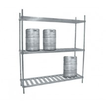 "Advance Tabco KR-42 42"" Aluminum Keg Rack with Two Shelves"