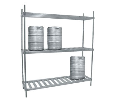 "Advance Tabco KR-80 80"" Aluminum Keg Rack with Two Shelves"