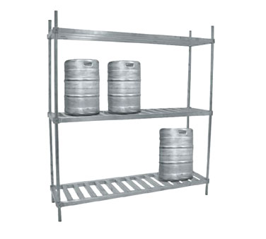 "Advance Tabco KR-93 93"" Aluminum Keg Rack with Two Shelves"