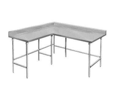 "Advance Tabco KTMS-246 L-Shaped Corner Stainless Steel Work Table - 24"" x 72"""