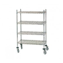 "Advance Tabco MC-1848R Chrome Shelving Cart with Rubber Casters, 18"" x 48"" x 69"""