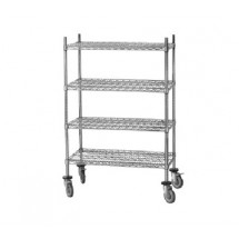 "Advance Tabco MC-1860R Chrome Shelving Cart with Rubber Casters, 18"" x 60"" x 69"""