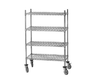 "Advance Tabco MC-2460R Chrome Shelving Cart with Rubber Casters, 24"" x 60 "" x 69"""