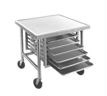 """Advance Tabco MT-MG-300 Mobile Stainless Steel Mixer Table with Galvanized Base and Tray Slides 30"""" x 30"""""""