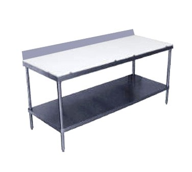 "Advance Tabco SPS-305 Poly Top Work Table with 6"" Backsplash and Undershelf 30"" x 60"""