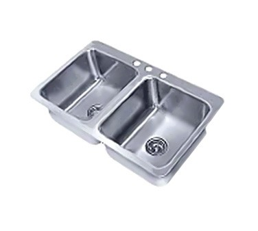 """Advance Tabco SS-2-4521-12 Two Compartment Drop-In Sink, 20"""" x 16"""" x 12"""""""