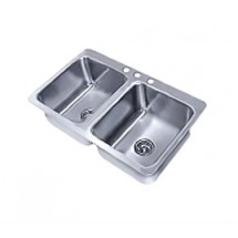"Advance Tabco SS-2-4521-12 Two Compartment Drop-In Sink, 20"" x 16"" x 12"""