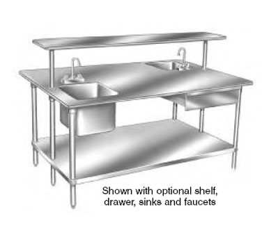 Advance Tabco SS Stainless Steel Work Table With Adjustable - Large stainless steel work table