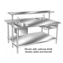 """Advance Tabco SS-485 Stainless Steel Work Table With Adjustable Undershelf 48"""" x 60"""""""