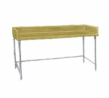 "Advance Tabco TBG-364 Wood Top Baker's Table with Galvanized Base, 36"" x 48"""