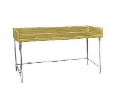 "Advance Tabco TBG-368 Wood Top Baker's Table with Galvanized Open Base - 36"" x 96"""
