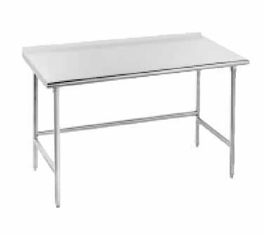 """Advance Tabco TFMG-365 Open Base Stainless Steel Work Table with 1-1/2"""" Backsplash"""