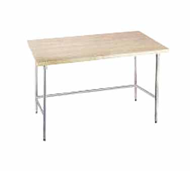 "Advance Tabco TH2G-364 Wood Top Work Table with Galvanized Open Base - 36"" x 48"""