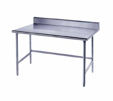 """Advance Tabco TKLG-365 Open Base Stainless Steel Work Table with 5"""" Backsplash"""