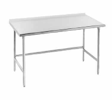 "Advance Tabco TSFG-305 Open Base Work Table with 1-1/2"" Backsplash"