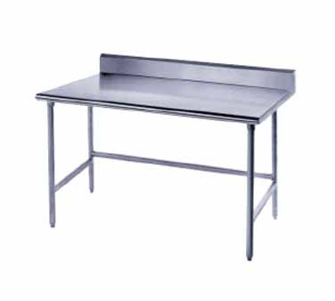 """Advance Tabco TSKG-363 Stainless Steel Open Base Work Table with 5"""" Backsplash"""