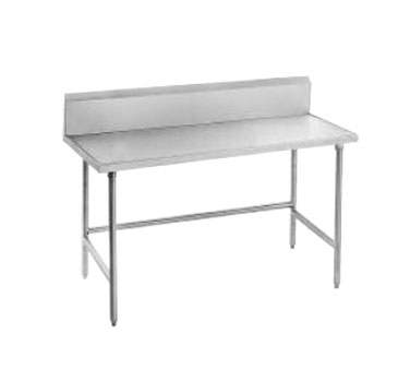"Advance Tabco TVKG-365 Open Base Stainless Steel Work Table With 10"" Backsplash"