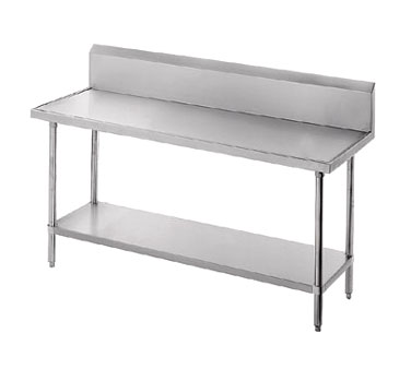 "Advance Tabco VKG-244 Work Table With Galvanized Undershelf and 10"" Backsplash - 24"" x 48"""