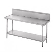 """Advance Tabco VKS-304 Work Table With Stainless Steel Undershelf and 10"""" Backsplash 30"""" x 48"""""""