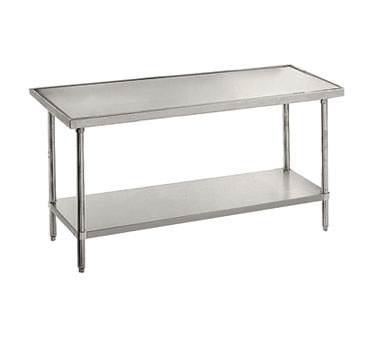 "Advance Tabco VSS-486 Stainless Steel Work Table with Stainless Steel Undershelf - 48"" x 72"""